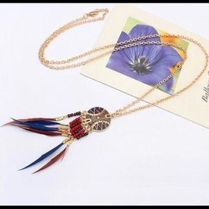 Jewelry - Boho Medallion Bead & Feather Necklace